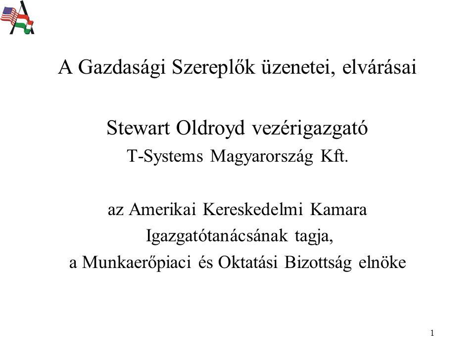 1 A Gazdasági Szereplők üzenetei, elvárásai Stewart Oldroyd vezérigazgató T-Systems Magyarország Kft.