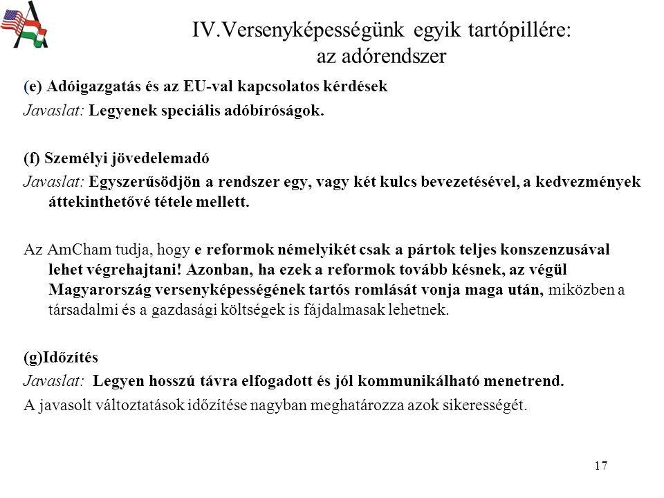 17 (e) Adóigazgatás és az EU-val kapcsolatos kérdések Javaslat: Legyenek speciális adóbíróságok.