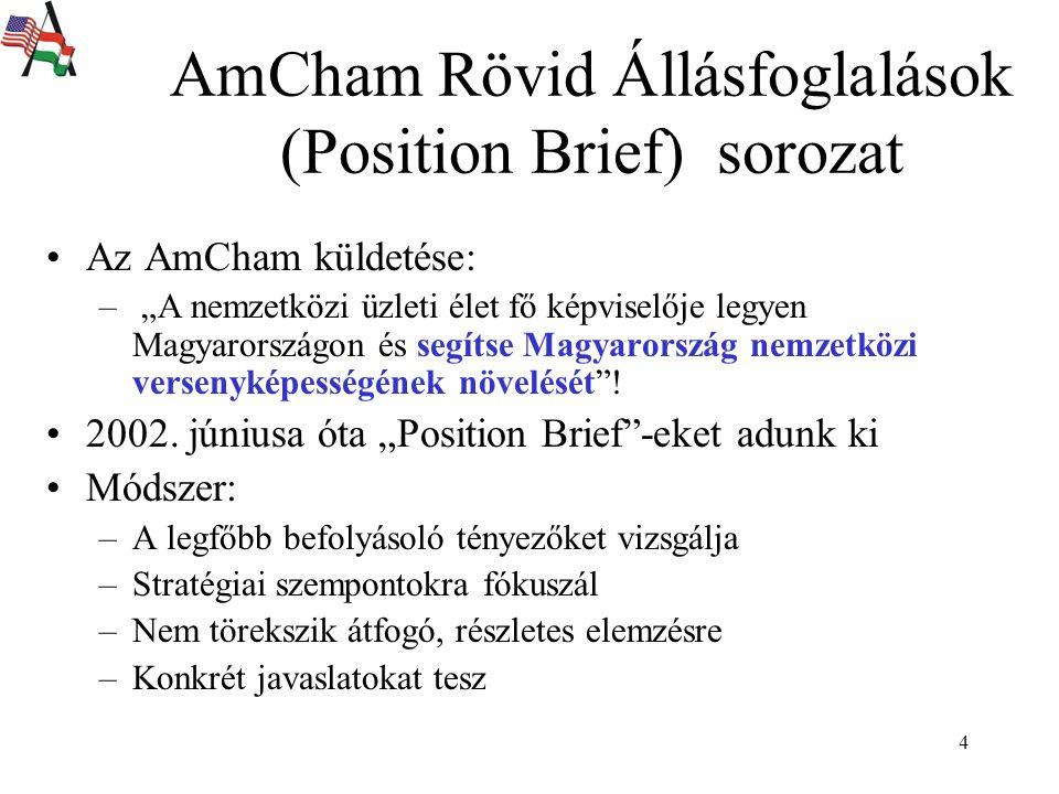 """4 AmCham Rövid Állásfoglalások (Position Brief) sorozat Az AmCham küldetése: – """"A nemzetközi üzleti élet fő képviselője legyen Magyarországon és segítse Magyarország nemzetközi versenyképességének növelését ."""