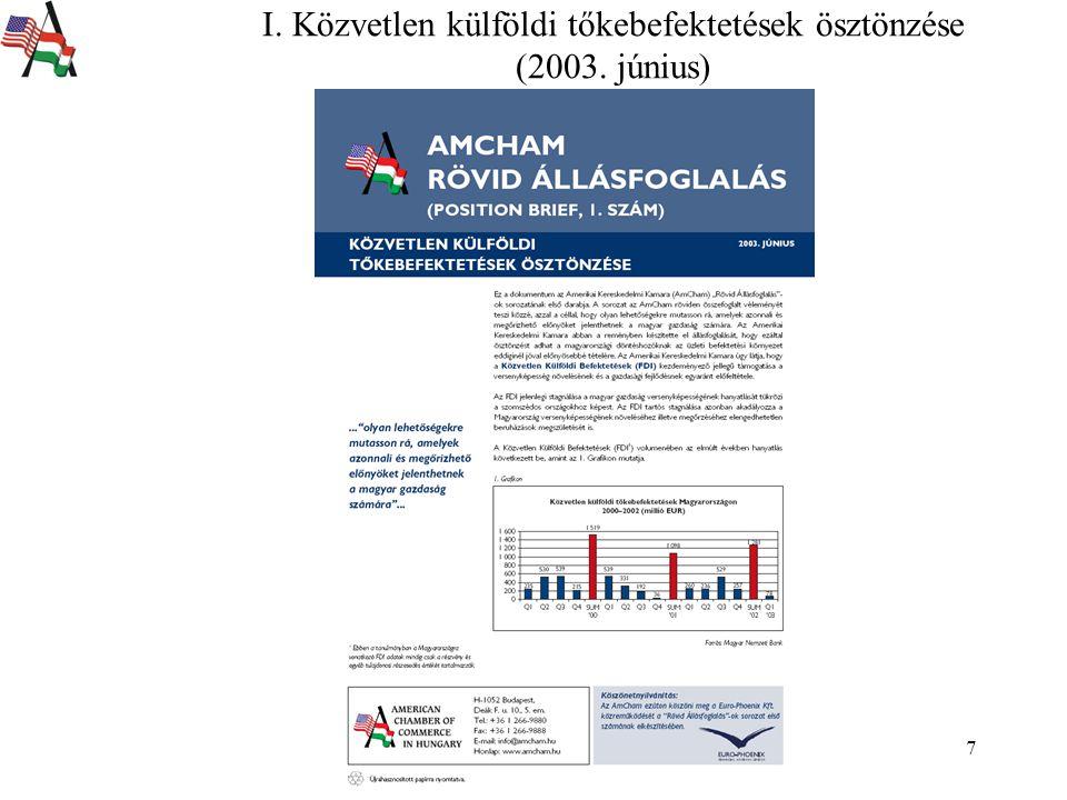 7 I. Közvetlen külföldi tőkebefektetések ösztönzése (2003. június)