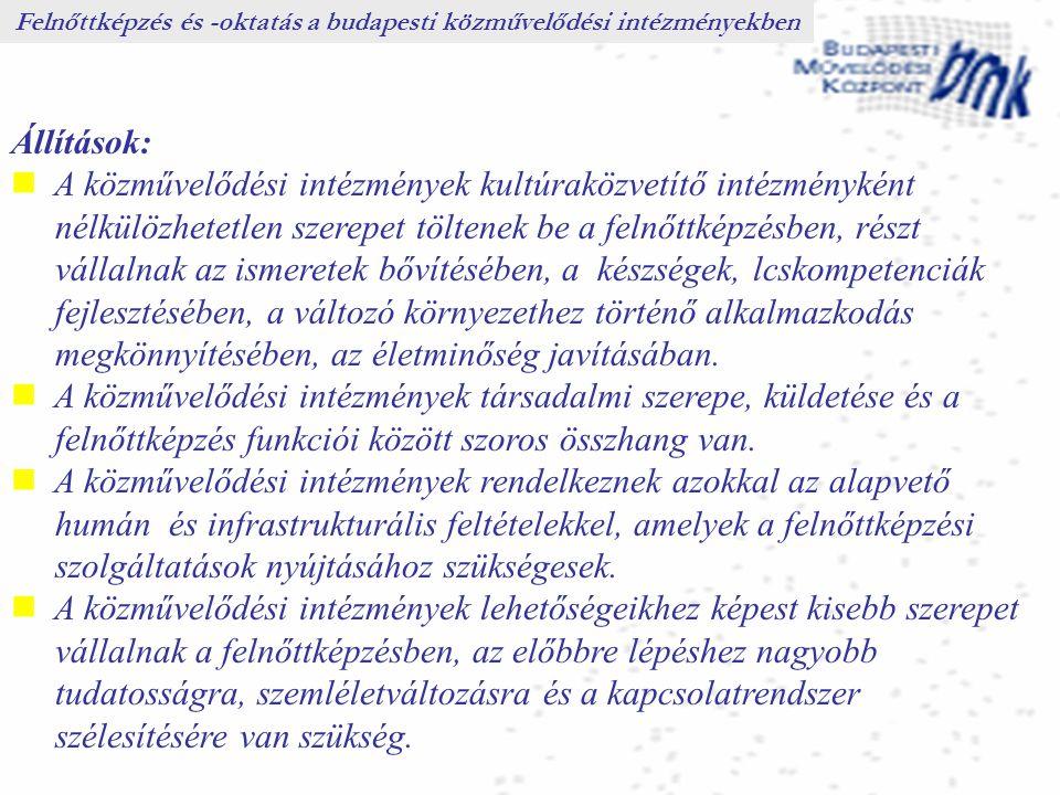 Állítások: A közművelődési intézmények kultúraközvetítő intézményként nélkülözhetetlen szerepet töltenek be a felnőttképzésben, részt vállalnak az ism