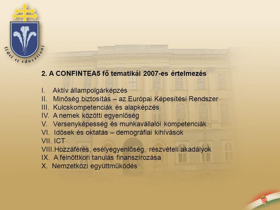 2. A CONFINTEA5 fő tematikái 2007-es értelmezés I. Aktív állampolgárképzés II. Minőség biztosítás – az Európai Képesítési Rendszer III. Kulcskompetenc