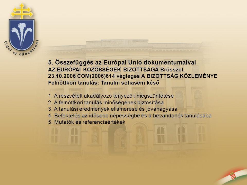 5. Összefüggés az Európai Unió dokumentumaival AZ EURÓPAI KÖZÖSSÉGEK BIZOTTSÁGA Brüsszel, 23.10.2006 COM(2006)614 végleges A BIZOTTSÁG KÖZLEMÉNYE Feln