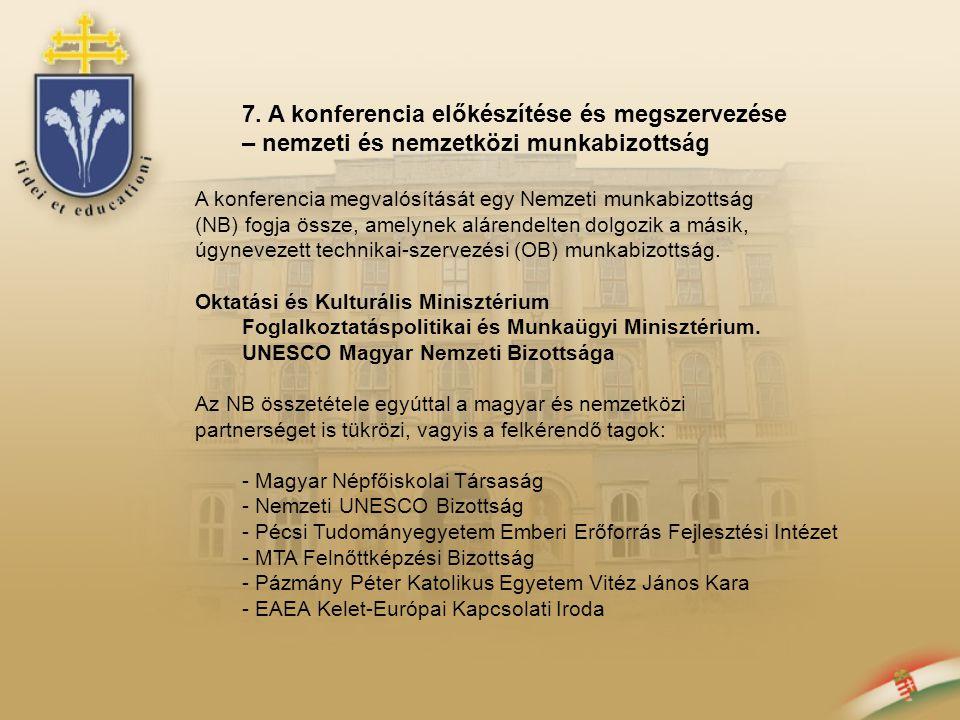 7. A konferencia előkészítése és megszervezése – nemzeti és nemzetközi munkabizottság A konferencia megvalósítását egy Nemzeti munkabizottság (NB) fog