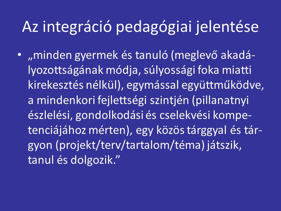 """Az integráció pedagógiai jelentése """"minden gyermek és tanuló (meglevő akadá- lyozottságának módja, súlyossági foka miatti kirekesztés nélkül), egymáss"""
