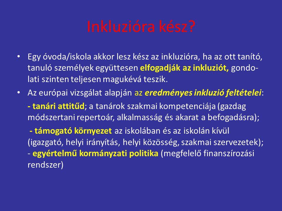 Inkluzióra kész? Egy óvoda/iskola akkor lesz kész az inkluzióra, ha az ott tanító, tanuló személyek együttesen elfogadják az inkluziót, gondo- lati sz