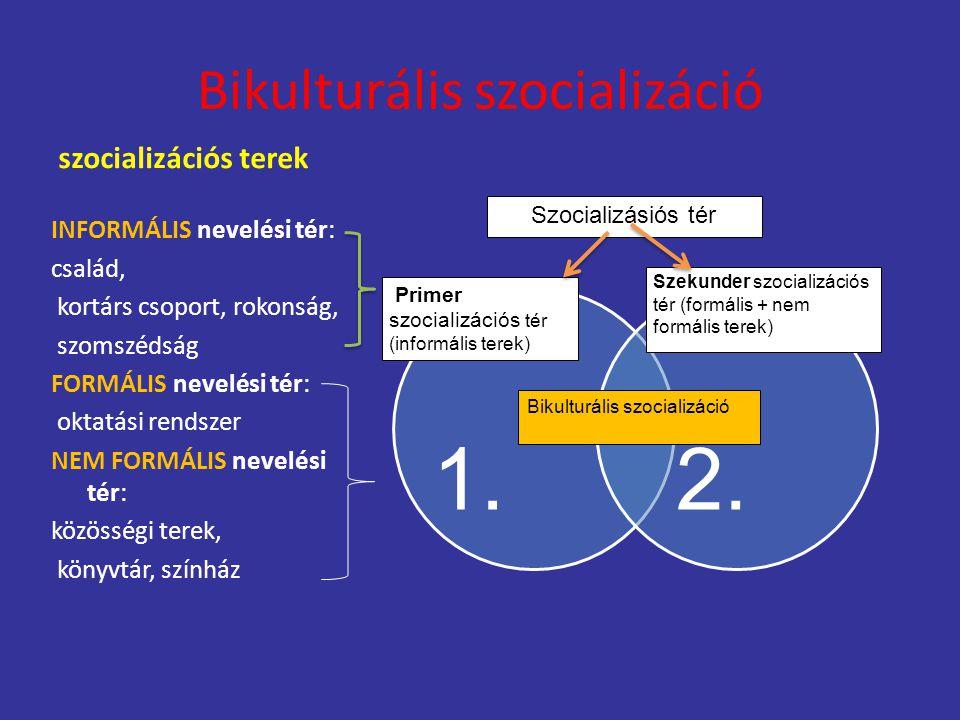 Bikulturális szocializáció szocializációs terek INFORMÁLIS nevelési tér: család, kortárs csoport, rokonság, szomszédság FORMÁLIS nevelési tér: oktatás