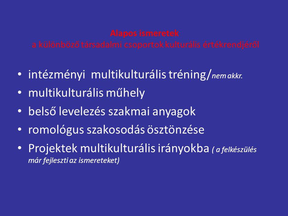 Alapos ismeretek a különböző társadalmi csoportok kulturális értékrendjéről intézményi multikulturális tréning/ nem akkr. multikulturális műhely belső