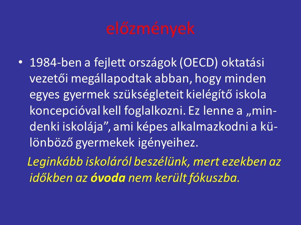 előzmények 1984-ben a fejlett országok (OECD) oktatási vezetői megállapodtak abban, hogy minden egyes gyermek szükségleteit kielégítő iskola koncepció