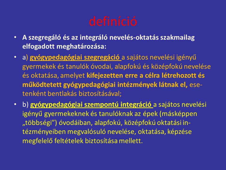 definíció A szegregáló és az integráló nevelés-oktatás szakmailag elfogadott meghatározása: a) gyógypedagógiai szegregáció a sajátos nevelési igényű g