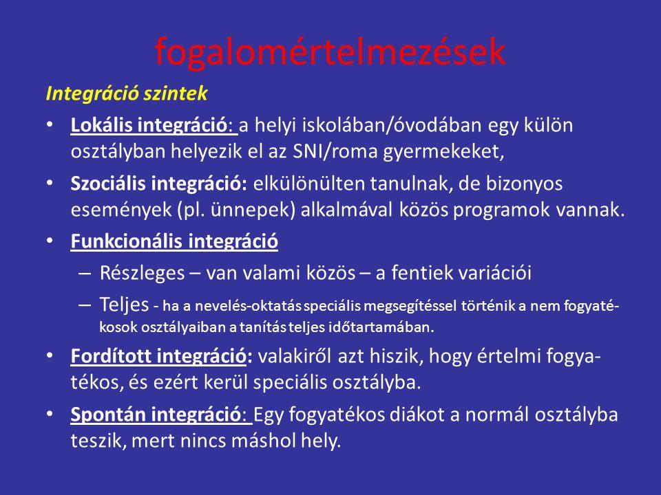 fogalomértelmezések Integráció szintek Lokális integráció: a helyi iskolában/óvodában egy külön osztályban helyezik el az SNI/roma gyermekeket, Szociá