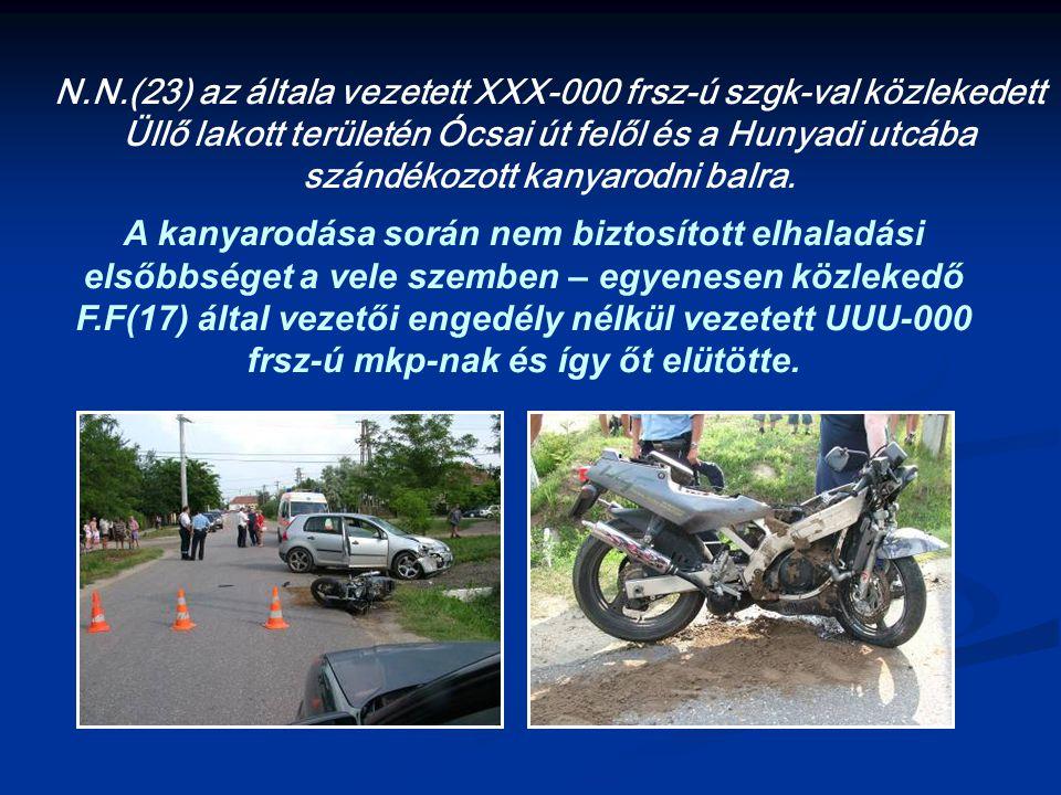 N.N.(23) az általa vezetett XXX-000 frsz-ú szgk-val közlekedett Üllő lakott területén Ócsai út felől és a Hunyadi utcába szándékozott kanyarodni balra