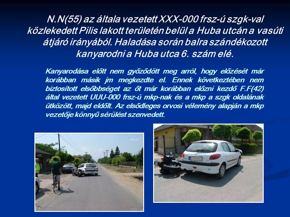 N.N(55) az általa vezetett XXX-000 frsz-ú szgk-val közlekedett Pilis lakott területén belül a Huba utcán a vasúti átjáró irányából.