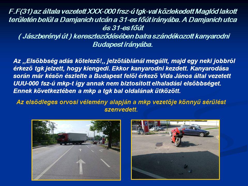 F.F(31) az általa vezetett XXX-000 frsz-ú tgk-val közlekedett Maglód lakott területén belül a Damjanich utcán a 31-es főút irányába. A Damjanich utca