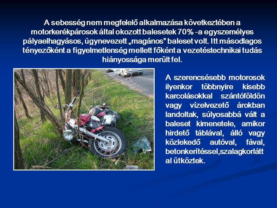 """A sebesség nem megfelelő alkalmazása következtében a motorkerékpárosok által okozott balesetek 70% -a egyszemélyes pályaelhagyásos, úgynevezett """"magán"""