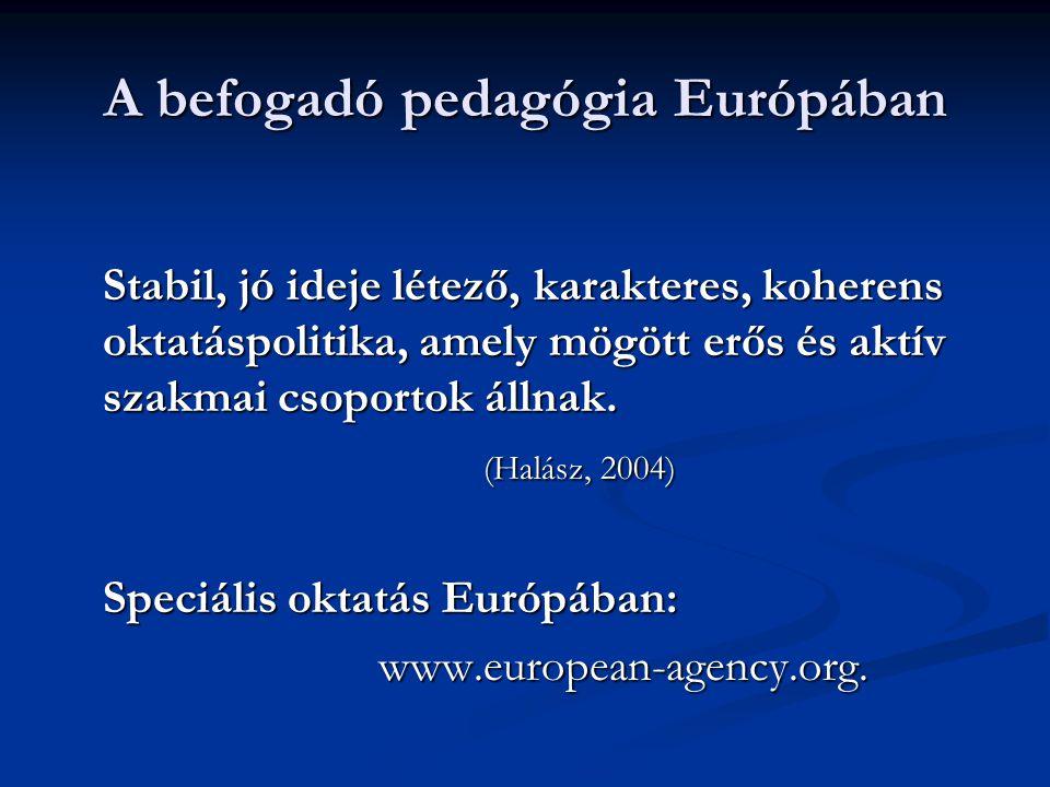 A befogadó pedagógia Európában Stabil, jó ideje létező, karakteres, koherens oktatáspolitika, amely mögött erős és aktív szakmai csoportok állnak. (Ha