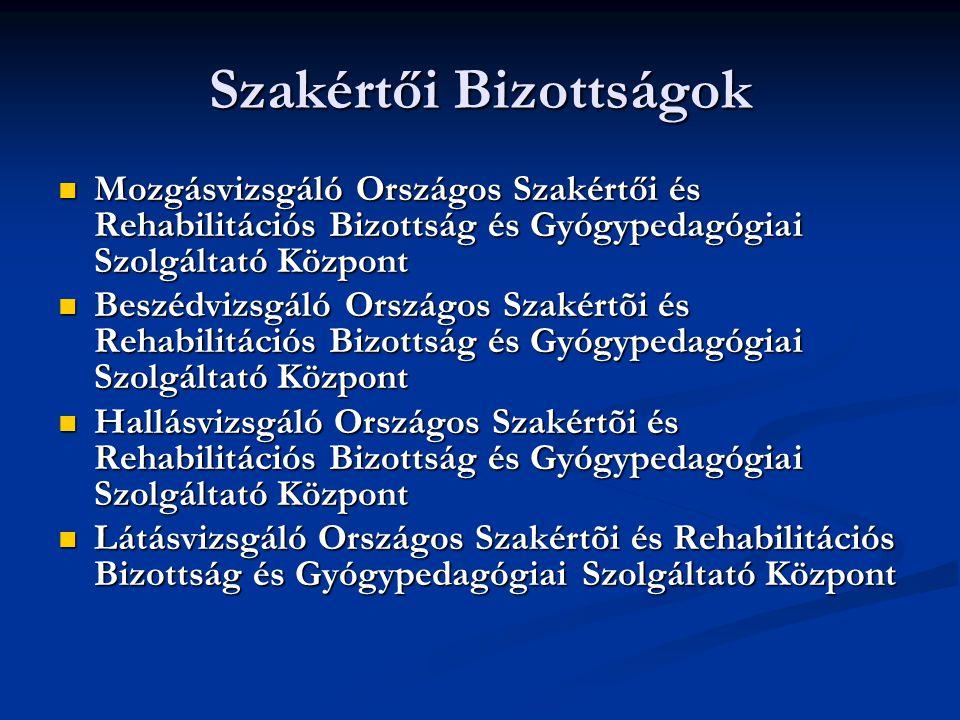 Szakértői Bizottságok Mozgásvizsgáló Országos Szakértői és Rehabilitációs Bizottság és Gyógypedagógiai Szolgáltató Központ Beszédvizsgáló Országos Sza