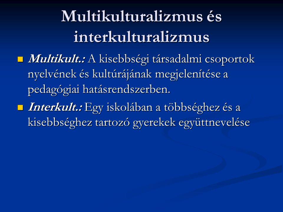 Multikulturalizmus és interkulturalizmus Multikult.: A kisebbségi társadalmi csoportok nyelvének és kultúrájának megjelenítése a pedagógiai hatásrends