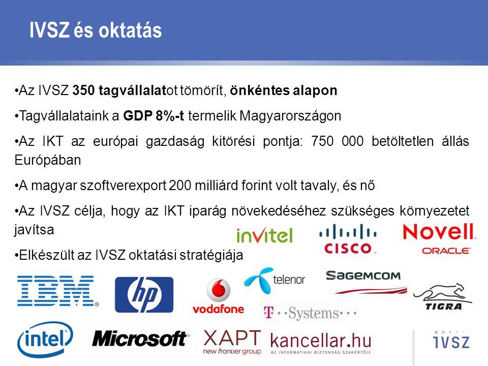 IVSZ és oktatás Az IVSZ 350 tagvállalatot tömörít, önkéntes alapon Tagvállalataink a GDP 8%-t termelik Magyarországon Az IKT az európai gazdaság kitör