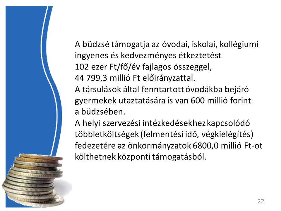A büdzsé támogatja az óvodai, iskolai, kollégiumi ingyenes és kedvezményes étkeztetést 102 ezer Ft/fő/év fajlagos összeggel, 44 799,3 millió Ft előirányzattal.
