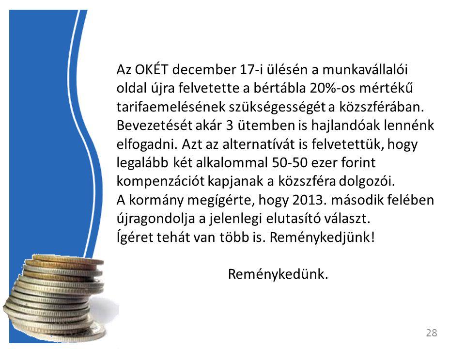 Az OKÉT december 17-i ülésén a munkavállalói oldal újra felvetette a bértábla 20%-os mértékű tarifaemelésének szükségességét a közszférában.