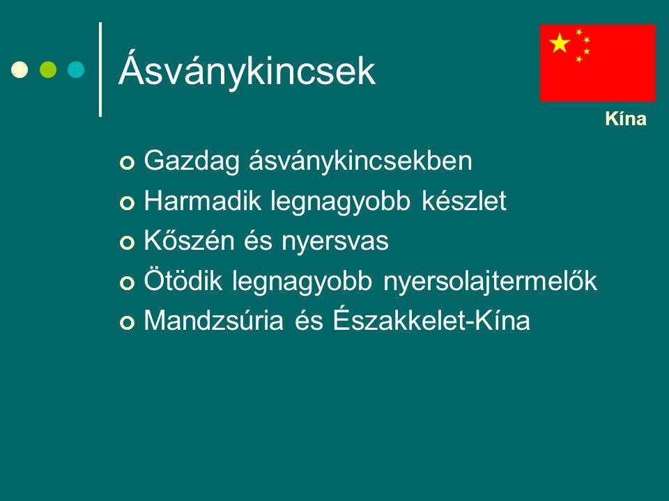 Ásványkincsek Gazdag ásványkincsekben Harmadik legnagyobb készlet Kőszén és nyersvas Ötödik legnagyobb nyersolajtermelők Mandzsúria és Északkelet-Kína Kína