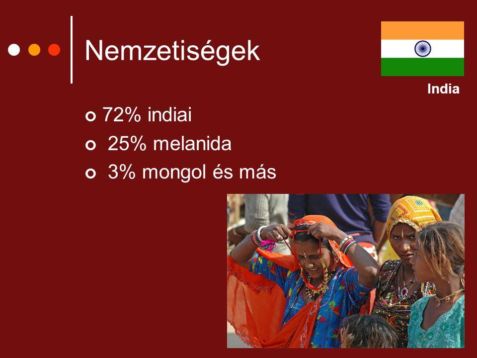 Nemzetiségek 72% indiai 25% melanida 3% mongol és más India