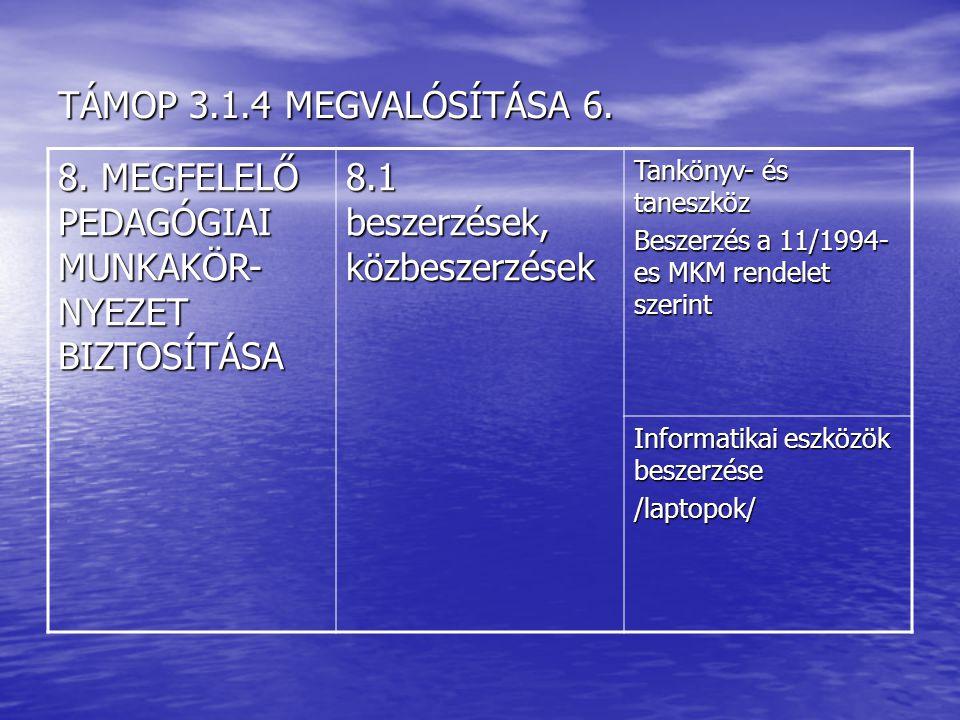 TÁMOP 3.1.4 MEGVALÓSÍTÁSA 6.8.