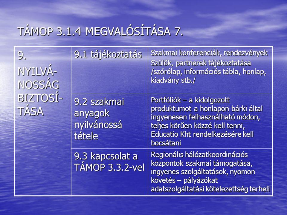 TÁMOP 3.1.4 MEGVALÓSÍTÁSA 7. 9.