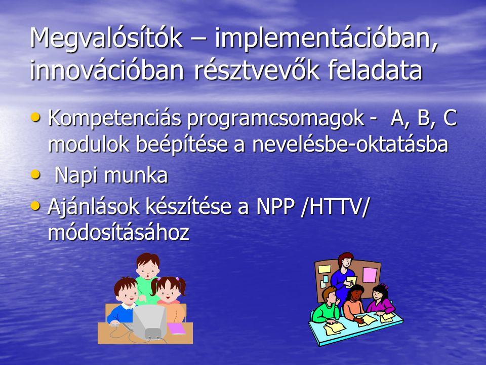 Megvalósítók – implementációban, innovációban résztvevők feladata Kompetenciás programcsomagok - A, B, C modulok beépítése a nevelésbe-oktatásba Kompetenciás programcsomagok - A, B, C modulok beépítése a nevelésbe-oktatásba Napi munka Napi munka Ajánlások készítése a NPP /HTTV/ módosításához Ajánlások készítése a NPP /HTTV/ módosításához