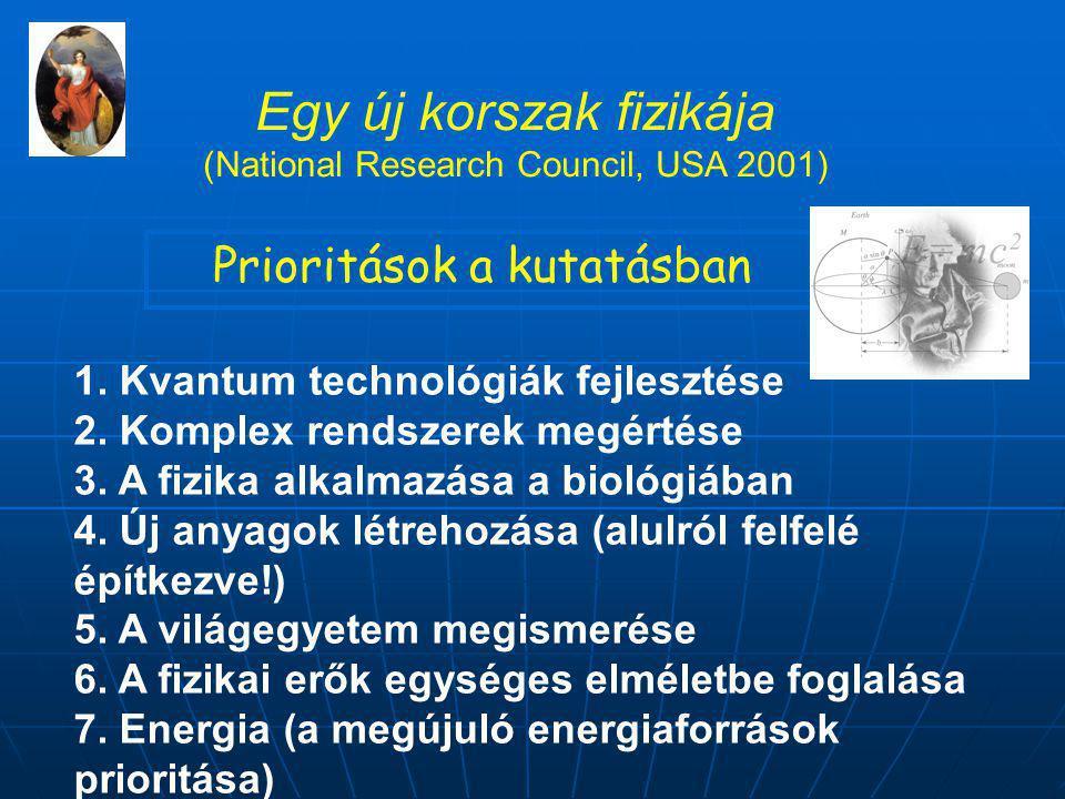 Egy új korszak fizikája (National Research Council, USA 2001) Prioritások a kutatásban 1.