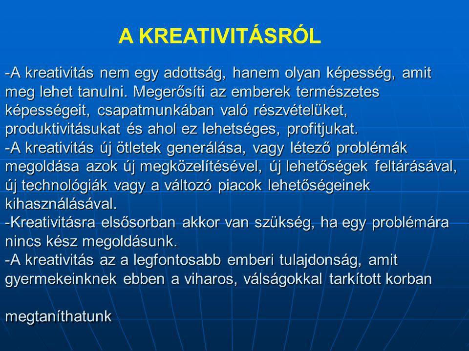 -A kreativitás nem egy adottság, hanem olyan képesség, amit meg lehet tanulni.
