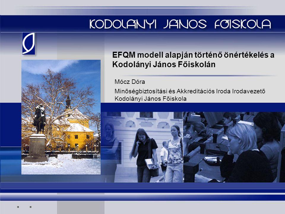 EFQM modell alapján történő önértékelés a Kodolányi János Főiskolán Mócz Dóra Minőségbiztosítási és Akkreditációs Iroda Irodavezető Kodolányi János Fő