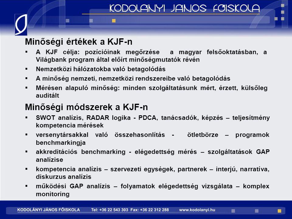 Minőségi értékek a KJF-n  A KJF célja: pozícióinak megőrzése a magyar felsőoktatásban, a Világbank program által előírt minőségmutatók révén  Nemzet