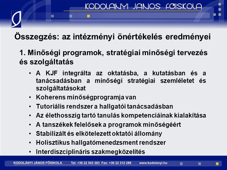 1. Minőségi programok, stratégiai minőségi tervezés és szolgáltatás A KJF integrálta az oktatásba, a kutatásban és a tanácsadásban a minőségi stratégi