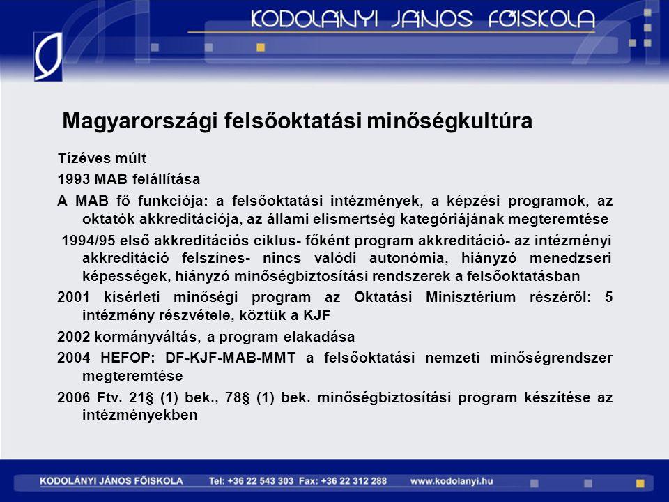 Magyarországi felsőoktatási minőségkultúra Tízéves múlt 1993 MAB felállítása A MAB fő funkciója: a felsőoktatási intézmények, a képzési programok, az