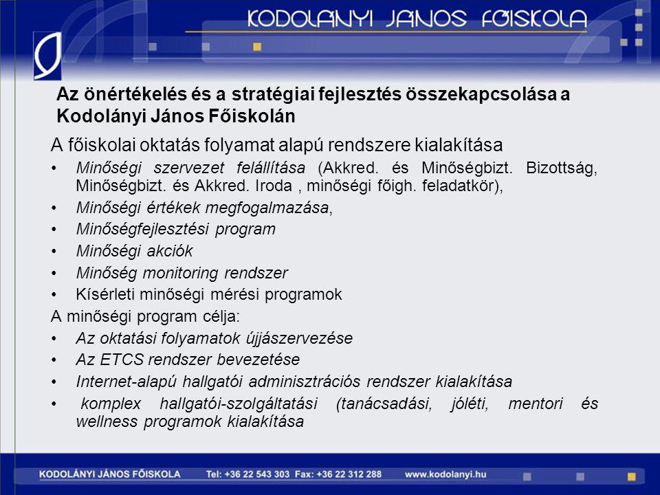 Az önértékelés és a stratégiai fejlesztés összekapcsolása a Kodolányi János Főiskolán A főiskolai oktatás folyamat alapú rendszere kialakítása Minőség