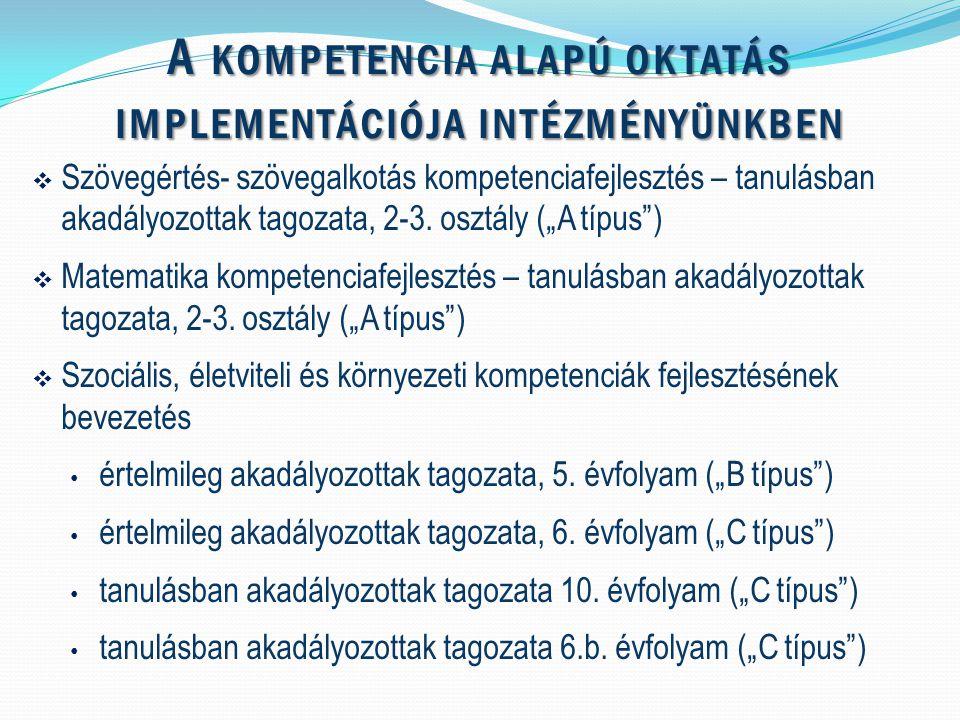 A KOMPETENCIA ALAPÚ OKTATÁS IMPLEMENTÁCIÓJA INTÉZMÉNYÜNKBEN  Szövegértés- szövegalkotás kompetenciafejlesztés – tanulásban akadályozottak tagozata, 2-3.