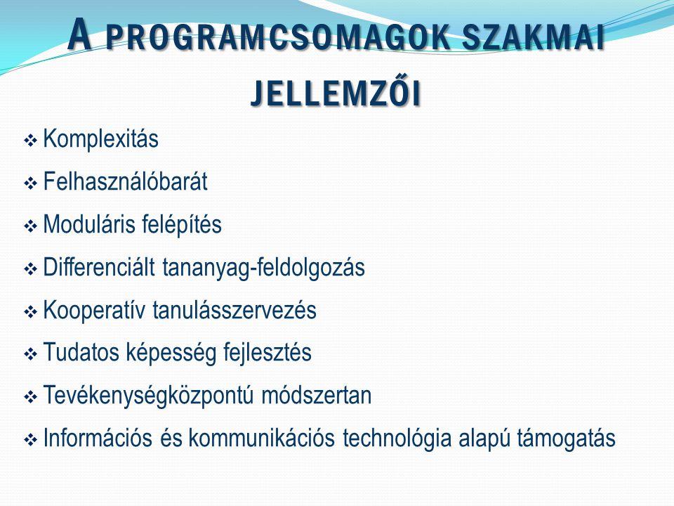 A PROGRAMCSOMAGOK SZAKMAI JELLEMZŐI  Komplexitás  Felhasználóbarát  Moduláris felépítés  Differenciált tananyag-feldolgozás  Kooperatív tanulásszervezés  Tudatos képesség fejlesztés  Tevékenységközpontú módszertan  Információs és kommunikációs technológia alapú támogatás