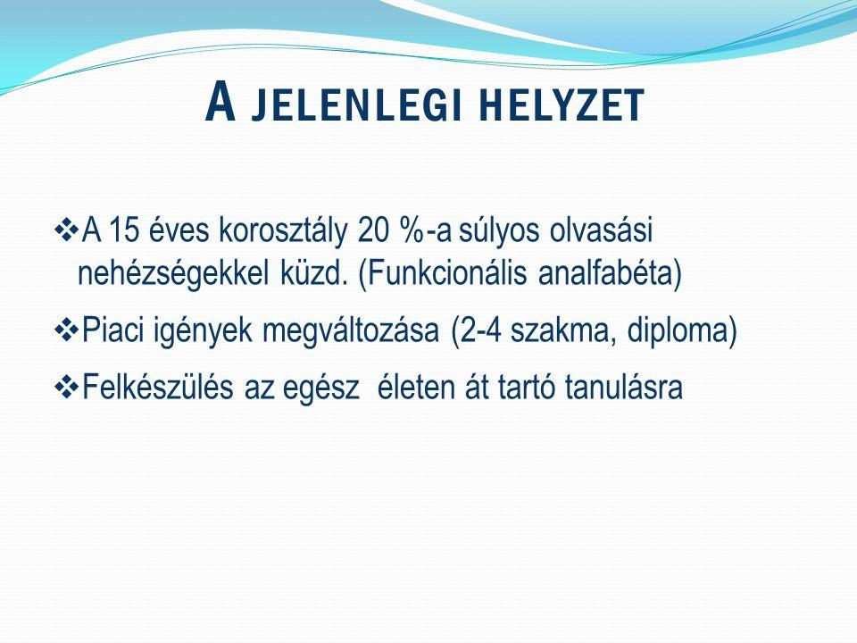 A JELENLEGI HELYZET  A 15 éves korosztály 20 %-a súlyos olvasási nehézségekkel küzd.
