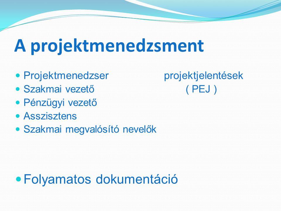 A projektmenedzsment Projektmenedzser projektjelentések Szakmai vezető ( PEJ ) Pénzügyi vezető Asszisztens Szakmai megvalósító nevelők Folyamatos dokumentáció