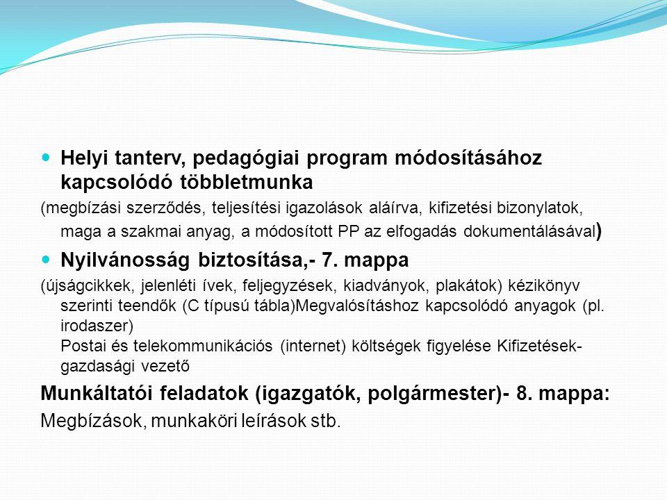Helyi tanterv, pedagógiai program módosításához kapcsolódó többletmunka (megbízási szerződés, teljesítési igazolások aláírva, kifizetési bizonylatok, maga a szakmai anyag, a módosított PP az elfogadás dokumentálásával ) Nyilvánosság biztosítása,- 7.