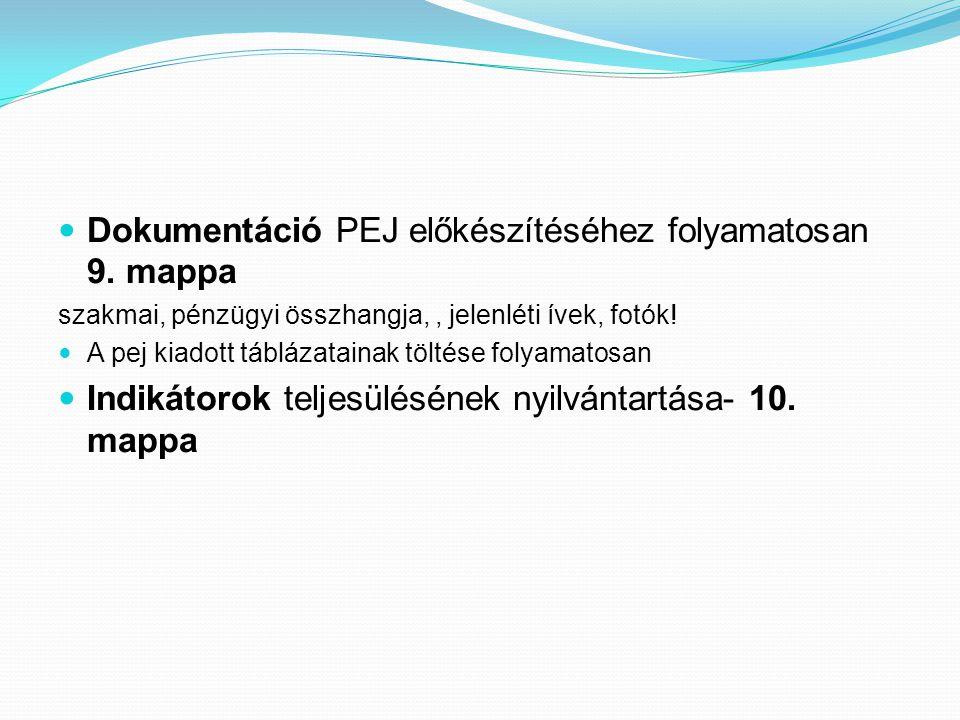 Dokumentáció PEJ előkészítéséhez folyamatosan 9.