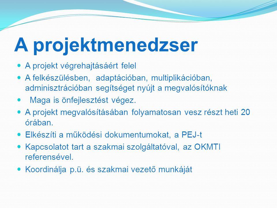 A projektmenedzser A projekt végrehajtásáért felel A felkészülésben, adaptációban, multiplikációban, adminisztrációban segítséget nyújt a megvalósítóknak Maga is önfejlesztést végez.