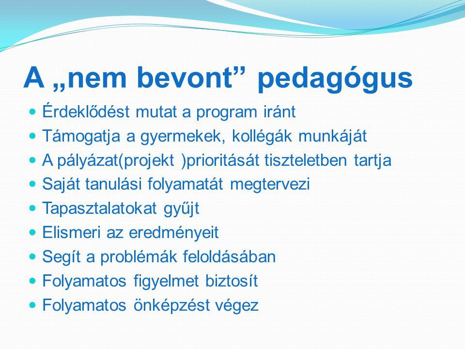 """A """"nem bevont pedagógus Érdeklődést mutat a program iránt Támogatja a gyermekek, kollégák munkáját A pályázat(projekt )prioritását tiszteletben tartja Saját tanulási folyamatát megtervezi Tapasztalatokat gyűjt Elismeri az eredményeit Segít a problémák feloldásában Folyamatos figyelmet biztosít Folyamatos önképzést végez"""