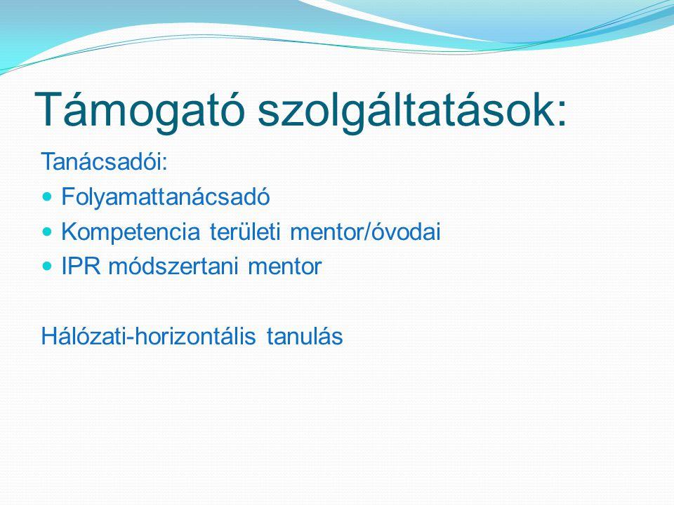 Támogató szolgáltatások: Tanácsadói: Folyamattanácsadó Kompetencia területi mentor/óvodai IPR módszertani mentor Hálózati-horizontális tanulás