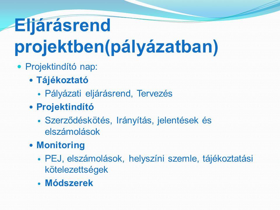 Eljárásrend projektben(pályázatban) Projektindító nap: Tájékoztató Pályázati eljárásrend, Tervezés Projektindító Szerződéskötés, Irányítás, jelentések és elszámolások Monitoring PEJ, elszámolások, helyszíni szemle, tájékoztatási kötelezettségek Módszerek