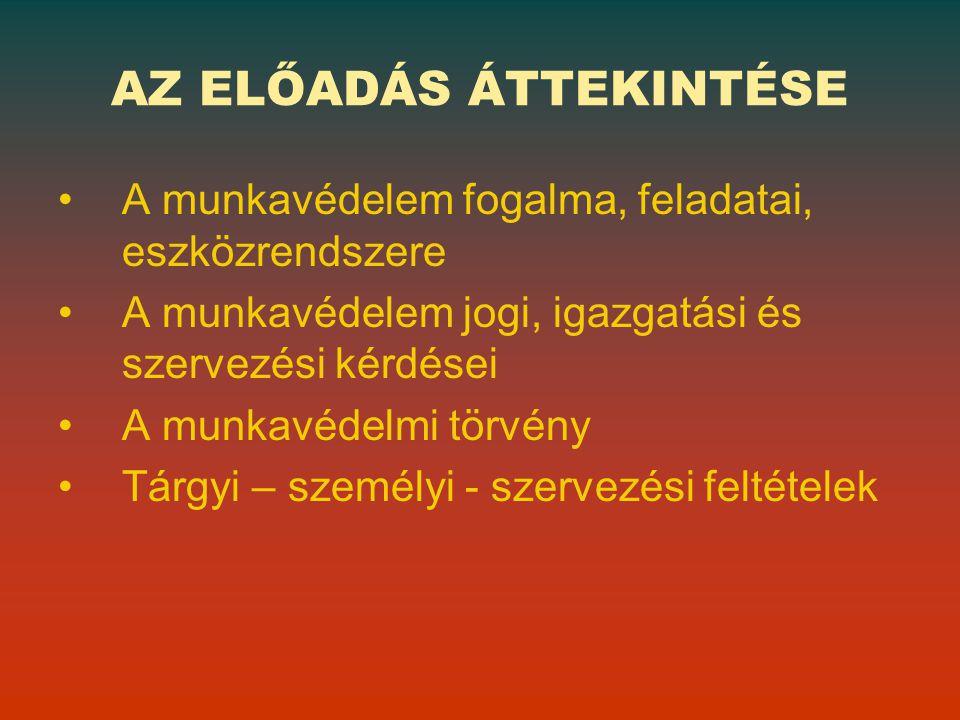 A munkáltató alapvető kötelezettségei TÁRGYI feltételei SZEMÉLYI feltételek SZERVEZÉSI ÉS ELLENŐRZÉSI