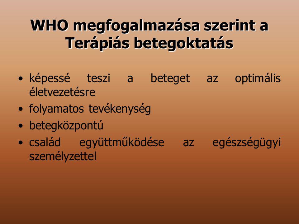 WHO megfogalmazása szerint a Terápiás betegoktatás képessé teszi a beteget az optimális életvezetésre folyamatos tevékenység betegközpontú család együ