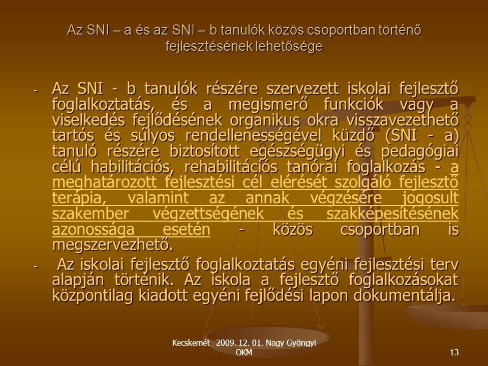 Kecskemét 2009. 12. 01. Nagy Gyöngyi OKM13 Az SNI – a és az SNI – b tanulók közös csoportban történő fejlesztésének lehetősége - Az SNI - b tanulók ré